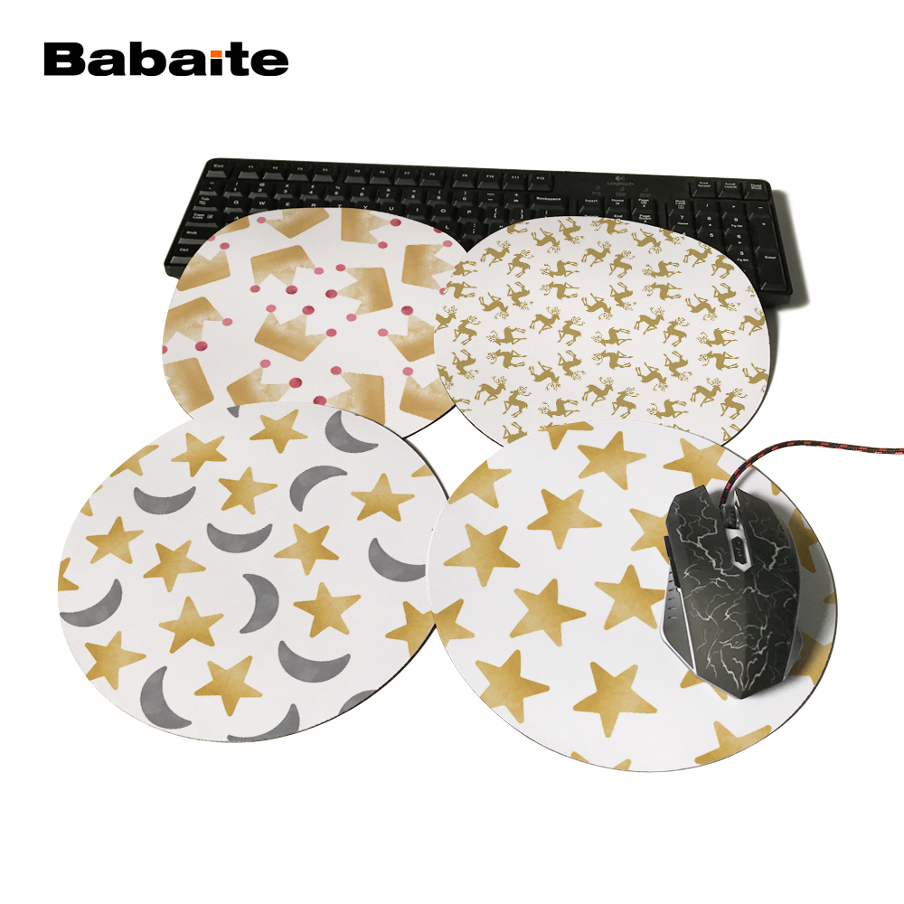 Babaite For Pentagram High Quality New Pattern Durable Gaming Optical Computer Mouse Mat Mice Pads Soft Silicone Round Mouse Pad