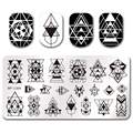 1 Pc Geometry Design BORN PRETTY Rectangle Nail Art Stamping Template 12*6cm  Manicure Image Plate BP-L054