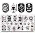 1 Unid Geometría Diseño NACIDO PRETTY Rectangle Nail Art Stamping Plantilla 12*6 cm Placa de la Imagen de Manicura BP-L054