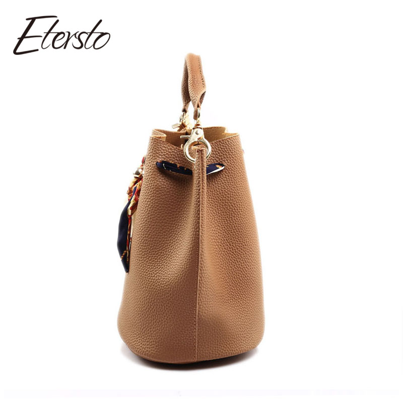 Etersto Brand Tassel Women Totes Vintage Ribbon Patchwork Leather Handbags Small Composite Crossbody Bag Set Top-handle Bags