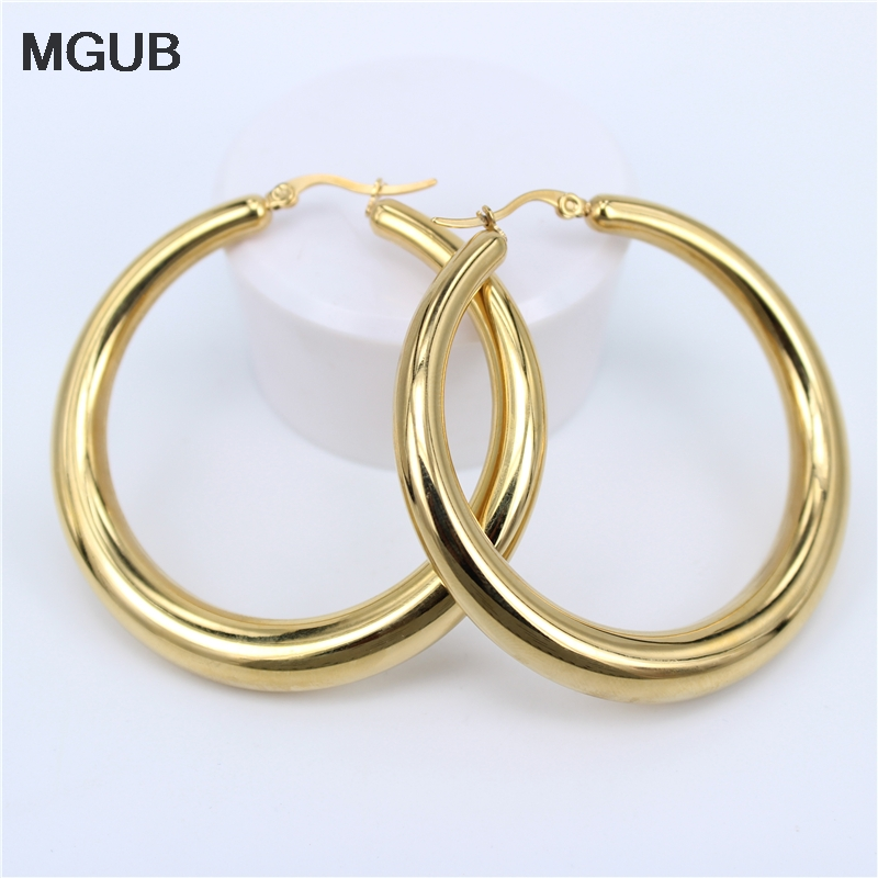 In Symbol Der Marke Mgub 2017 Neue Zwei-farbe Gold Farbe Frauen Geschenk Verkauf Modeschmuck Edelstahl Wives Runde Phantasie Hoop Ohrringe Hy266 Ausgezeichnete QualitäT