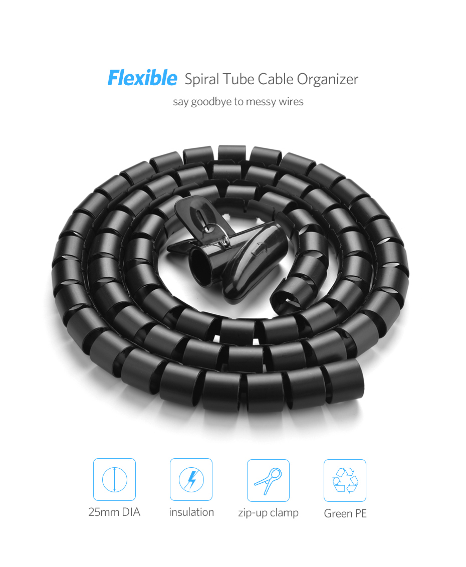 HTB1meftbpuWBuNjSszbq6AS7FXan Ugreen Cable Holder Organizer 25mm Diameter Flexible Spiral Tube Cable Organizer Wire Management Cord Protector Cable Winder