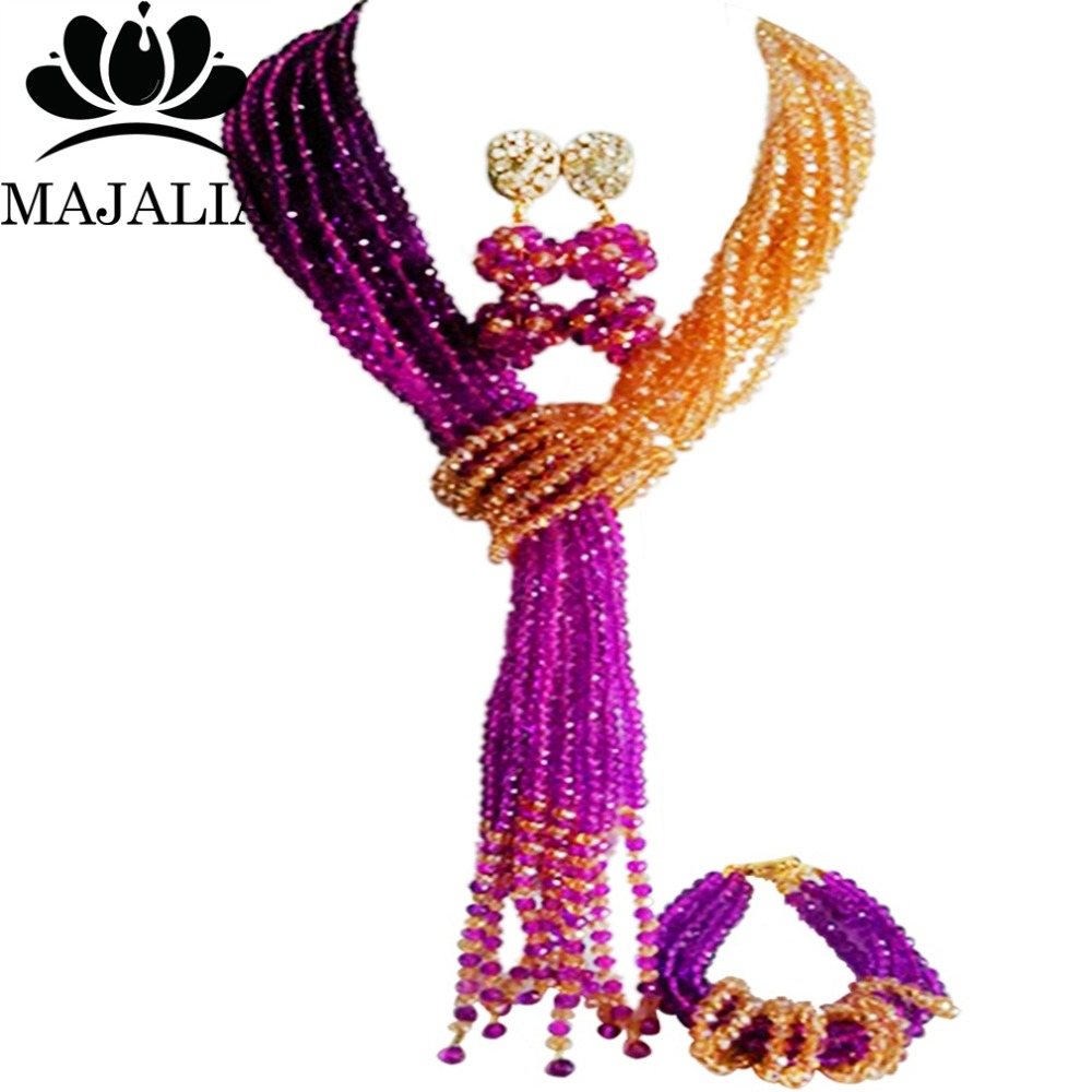 купить Fashion african jewelry set Purple nigerian wedding african beads jewelry set Crystal Free shipping Majalia-366 по цене 2855.22 рублей