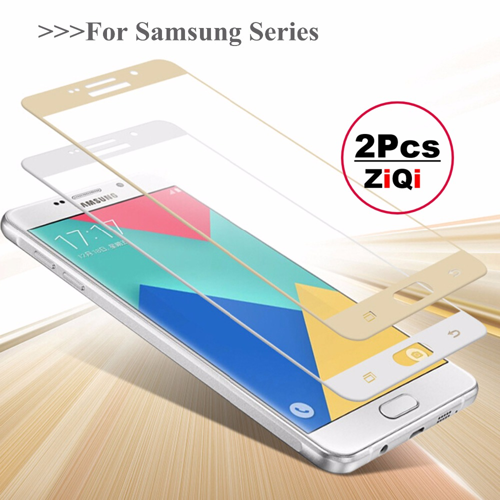 2Pcs Colorfull Full Cover Tempered Glass For SAMS C5 C7 C9 Pro J2 J5 J7 Prime On5 On7 2016 2017 Screen Protector Toughened Glass ...