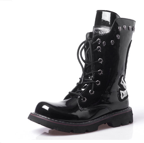 ФОТО Star Style Personality Punk Rock Boots Men's Knee-high Fashion Japanned Leather Skull Boots Cowboy Paillette Boots
