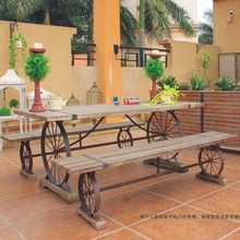 American country wrought iron tables and chairs living room coffee table balcony Leisure wood tables and chairs