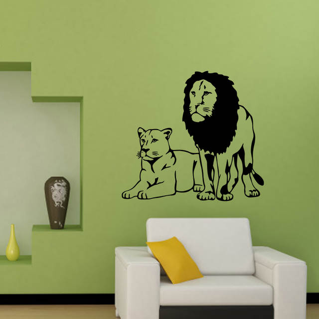 online shop animal vinyl wall stickers lions wall decal black wall