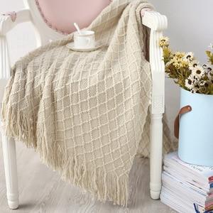 Image 4 - Knitted Throw Travel Blanket Grey Yellow Black Grey Sofa Throw Blanket Tassels Air Condition Blanket Diamond Acrylic 130x170cm