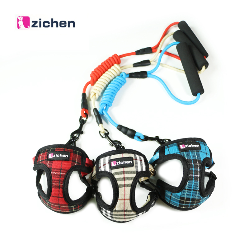 Zichen Dog Harness Vest Dog Leash Small Medium Dog Denim Satin Mesh Thickening Adjustable Foam Comfort Handle Durable 3 Color