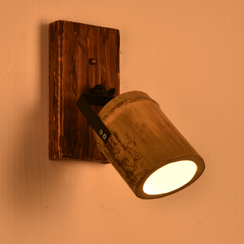 Vintage industrial style bamboo wood creative personality wall lamp