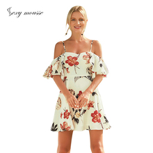 sexy mousse women dress spaghetti strap sweet beach summer  white floral short