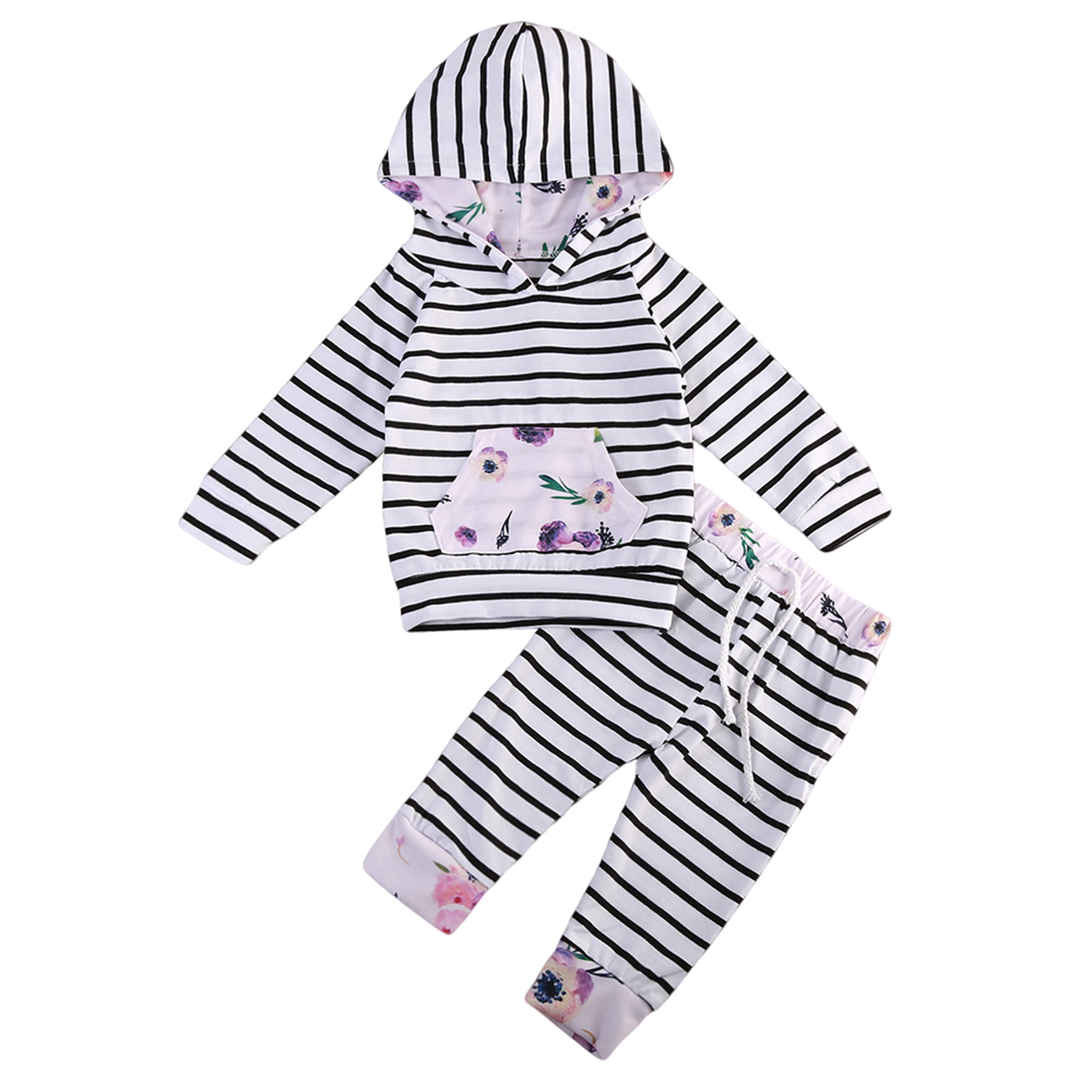 Newborn Baby Boys Girls Long Sleeve Striped Floral Hooded Tops Long Pants Outfits Set Clothes