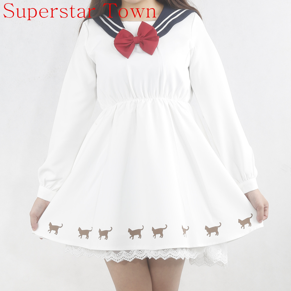 Spring Kawaii Cat Clothes Anime Harajuku Long Sleeve Patchwork Lace Sailor Dress Japanese School Uniform Dress Neko Atsume