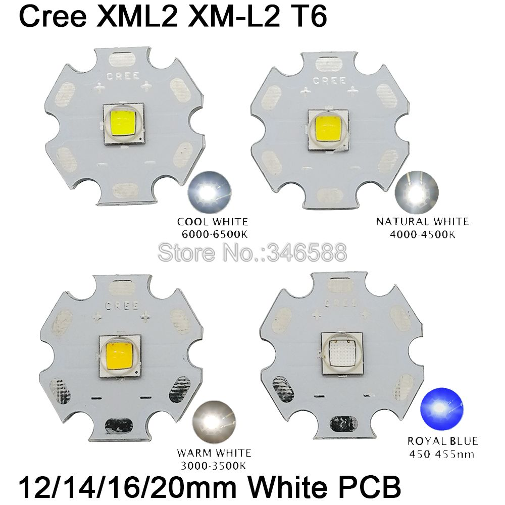 1x Cree XLamp XML2 XM-L2 T6 Cool White Neutral White Warm White 10W High Power LED Emitter Bead W/ White PCB 12mm 14mm 16mm 20mm