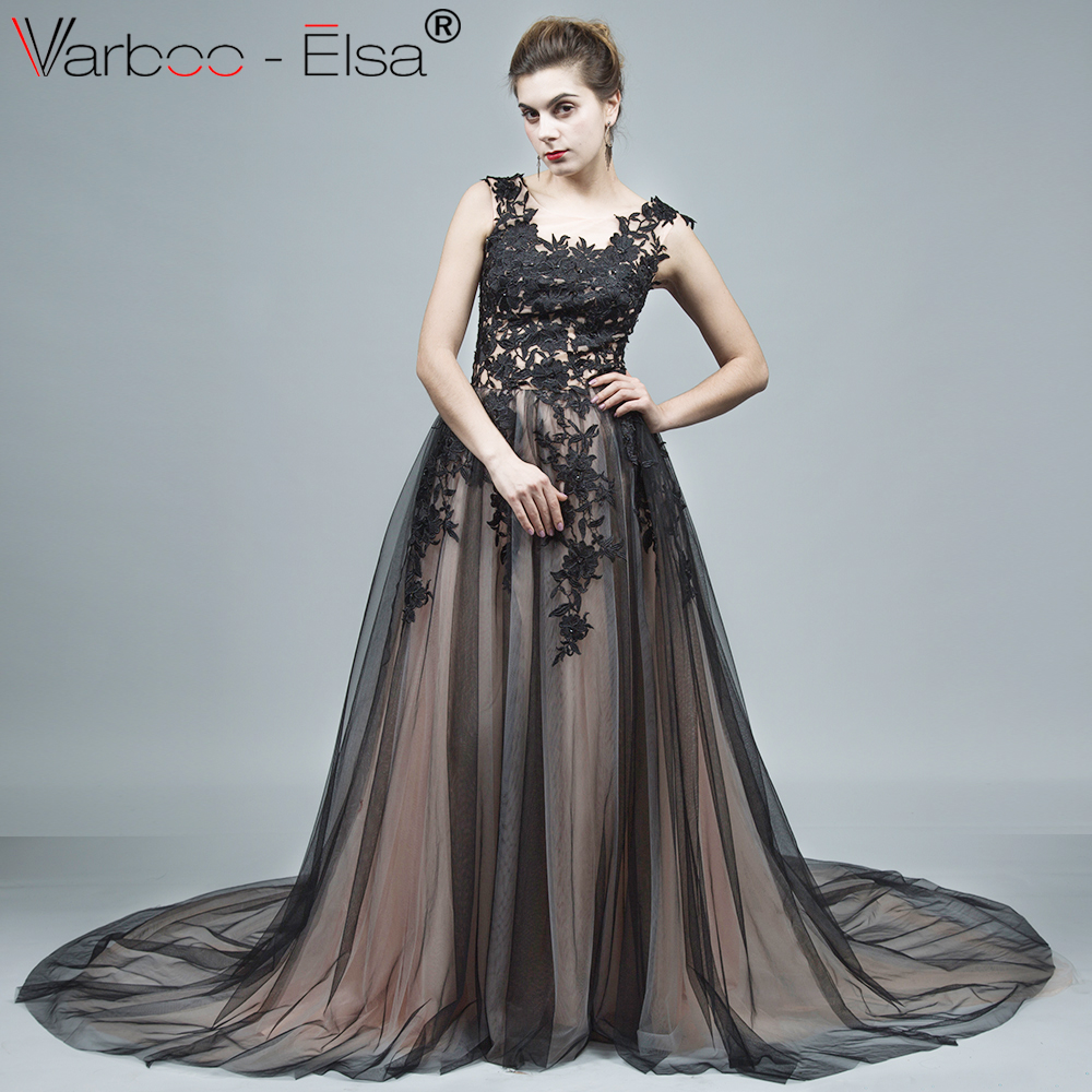 b80adbab9f VARBOO ELSA New Arrival black Ball Gown Long Evening Dress Party Elegant  Vestido De Festa Sleeveless Vintage