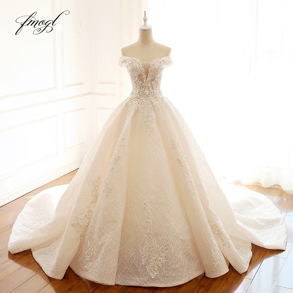 Fmogl Boat Neck Lace Vintage Ball Gown Wedding Dresses 2019 Appliques Beaded Pearls Bride Dress Vestido De Noiva Plus Size