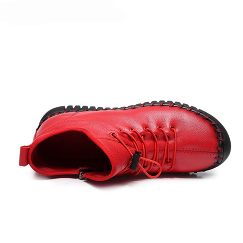 Hiver Cheville La Femmes En De Plat Chaussures Vintage 2018 Doux Main Véritable Hovinge Noir Féminine Mode rouge Bottes Automne Zip À Cuir xAawP