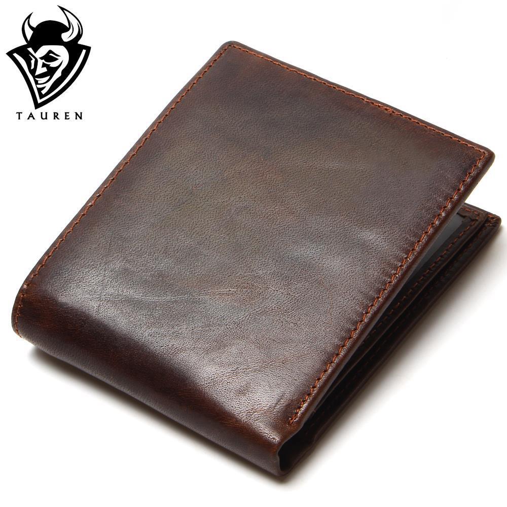TAUREN 100% Top Quality Natural Genuine Leather Men Wallets Fashion Splice Dollar Purse Carteira Masculina Mens Purse Wallet