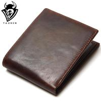 TAUREN 100 Top Quality Natural Genuine Leather Men Wallets Fashion Splice Dollar Purse Carteira Masculina Mens