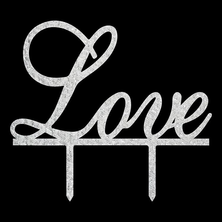 1 pc Acrylique Amour Gâteau De Mariage Drapeau Topper Or Argent Gâteau De Mariée Drapeaux Pour La Fête D'anniversaire De Mariage