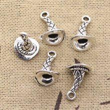 30 pçs encantos mágico mágico chapéu 15x11x10mm antigo prata cor chapeado pingentes fazendo diy artesanal tibetano prata cor jóias