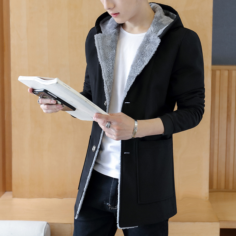 Loldeal Fashion Winter Men 's Cashmere Warm Jacket Hoodie   Trench   Coat men plus velvet thickening plus Winter Warm Hood