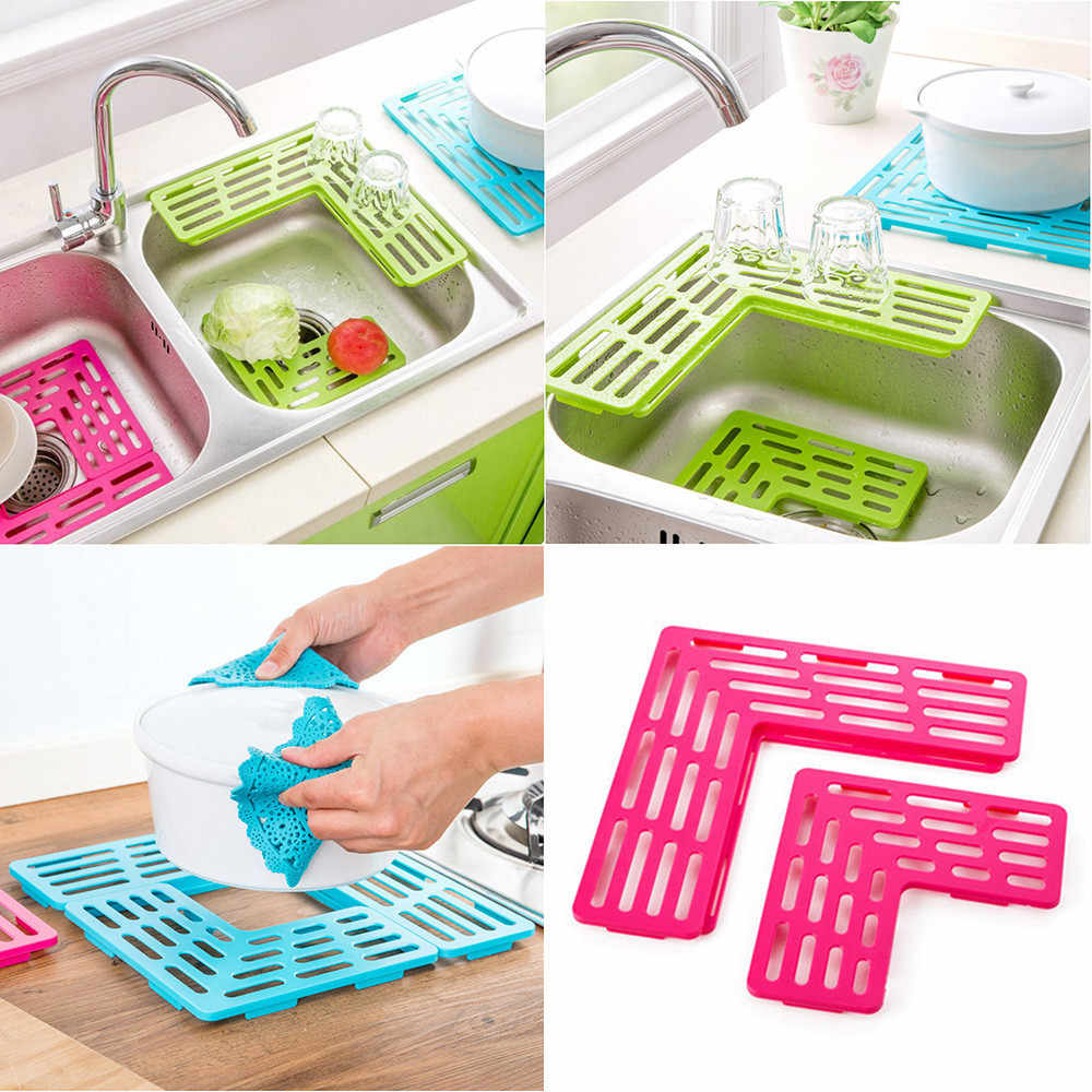 Kitchen Sink Rak Plastik Lipat Piring Sendok Garpu Rak Pengeringan Pemegang Buah Piala Dish Sink Rak Pengeringan Alat Draing Papan