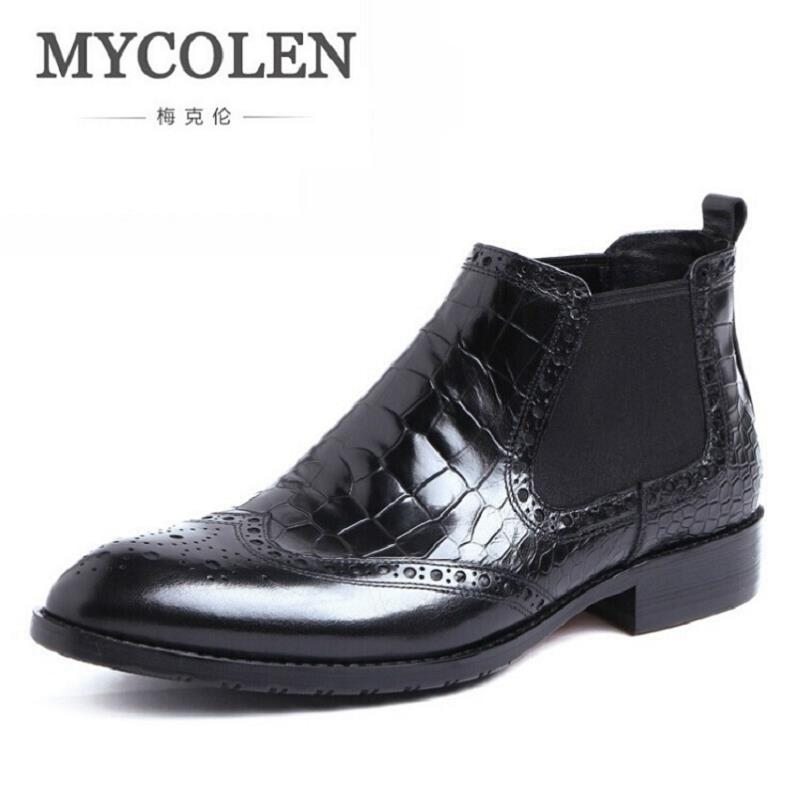 MYCOLEN British Style Autumn And Winter Men Boots Men Flat Heel Elastic Band Chelsea Shoes Mens Boots Casual Bota Militar