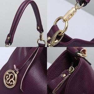 Image 5 - Zency Charm bolso de hombro Morado para mujer, 100%, Hobos de cuero auténtico, bandolera, elegante