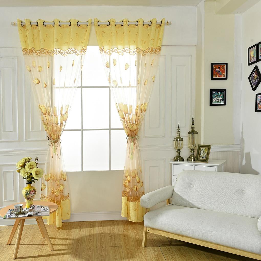 Beautiful Bedroom Living Room Decoration Tulip Flowers ... on Beautiful Bedroom Curtains  id=76564