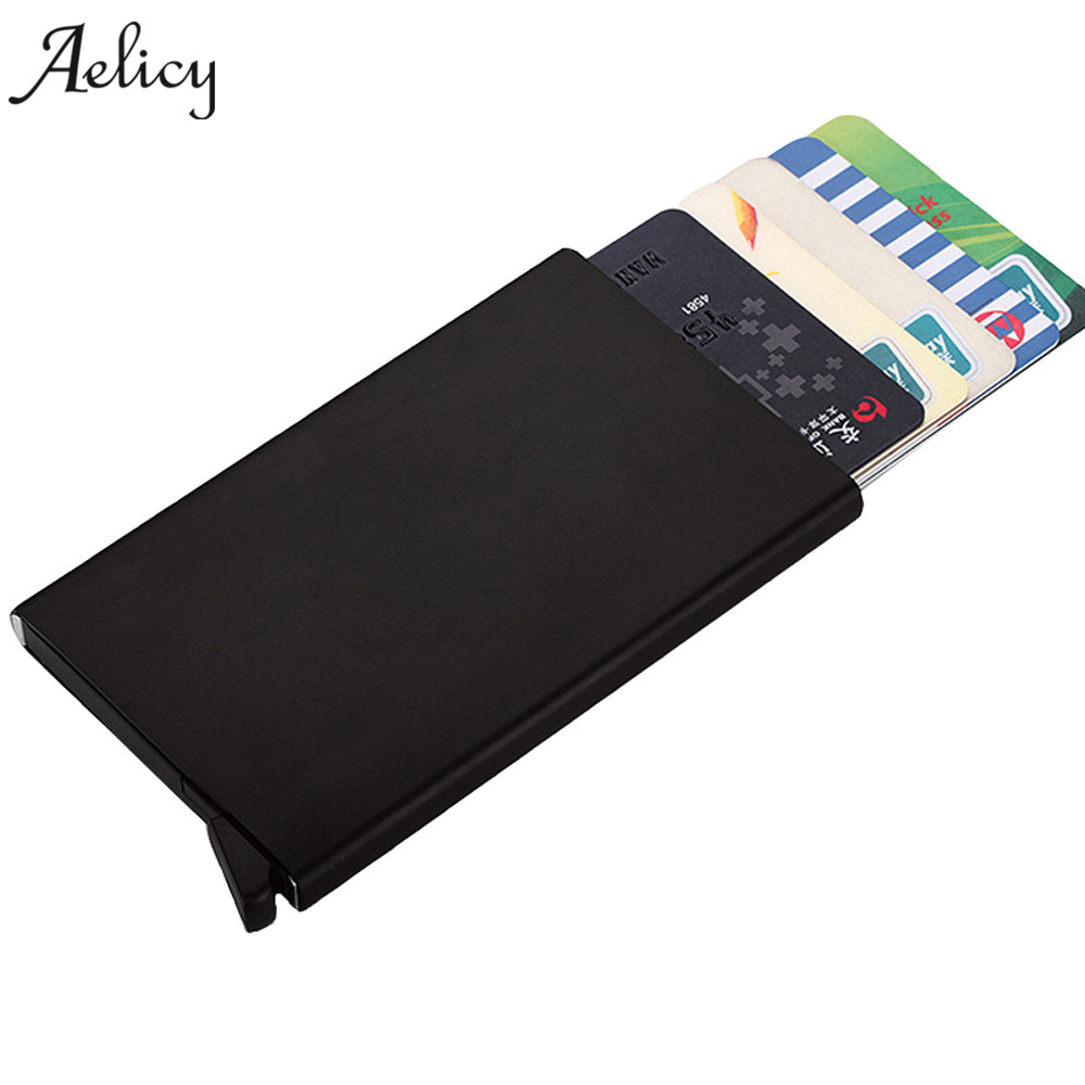 Aelicy Against Theft Brush Security Men Wallets Single Aluminum Box Wallet Credit Card & Id Holders Case Holder Thin Purse 2017 new top brand pu thin business id credit card holder wallets pocket case bank credit card package case card box porte carte