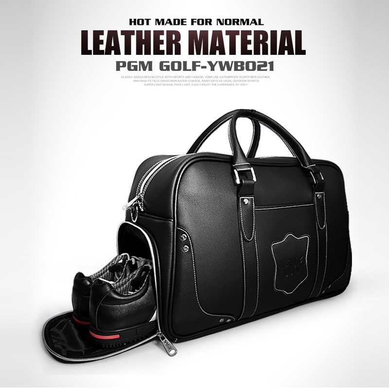 PGM Golf Clothing Bag Genuine Leather Top Quality Shoes Bag Waterproof High Capacity Double Layer Golf Sports Bag Handbag 2016 new genuine polo brand golf bag for men s clothing bag women pu bag large capacity high quality