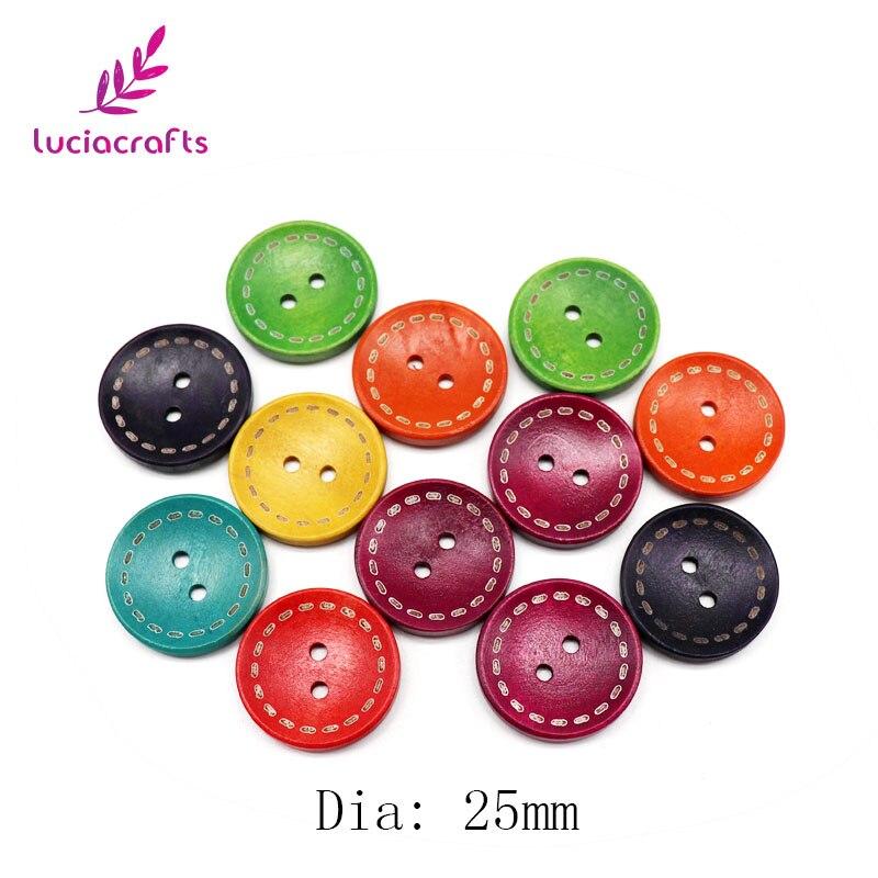 Lucia ремесла 12 шт 20 мм/25 мм случайным образом Смешанные Круглые деревянные пуговицы для одежды DIY шитье, скрапбукинг, аксессуары DIY E0201 - Цвет: 25mm