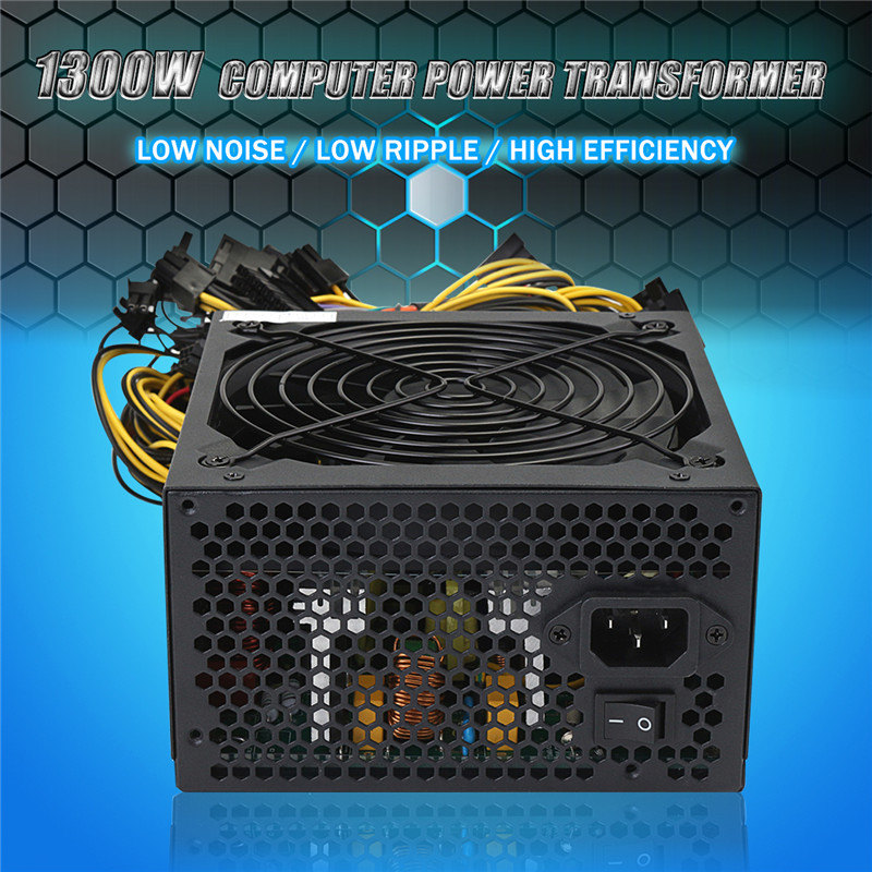 Leory 1300W Power Supply Support 12 Graphics Card 8 SATA IDE Dedicated Power Supply For Eth Rig BTC Mining Miner Machine mining rig miner mining machine chassis mounting btc ic6s motherboard supporting up to 8 gpu without power supply