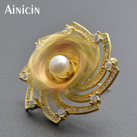 Novelty Gift Double Layer Rotatable Petal Natural Freshwater Pearls Brooches Pins Women Bridal Rhinestone Crystal Women