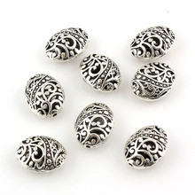 10 шт 11x17x22 мм модные тибетские посеребренные в форме эллипса полые разделительные бусины DIY ювелирные изделия, изготовление браслетов