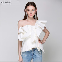 KoHuiJoo Summer Women Sexy One Shoulder Tops Lady 2019 Solid Ruffles Cotton tshirt White Blue Fashion Clothes off Shoulder