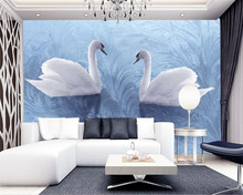 Beibehang 3D wallpaper background modern swan reed fabric art murals living room large painting home decoration photo wallpaper(China)