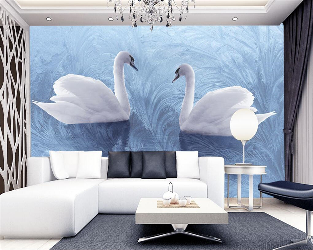 Beibehang 3D Wallpaper Background Modern Swan Reed Fabric Art Murals Living Room Large Painting Home Decoration Photo Wallpaper