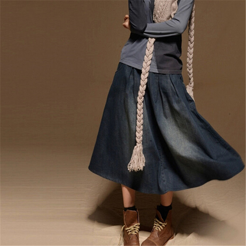 Women Maxi Skirt Pocket Casual Loose Long Denim Elastic Waist Fashion Vintage All Match Jean Skirts C1794 In From Womens