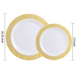Image 2 - Gold Disposable Plastic Plates  Lace Design Wedding Party Plastic Plates,Gold Lace Plates Salad/Dessert Plates 25pack