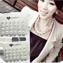 Wholesale 12Pairs/lot Women White Pearl Stud Earrings Piercing Lot aretes de mujer 8mm/10mm/12mm