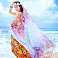 Summer Sunscreen Beach Towel Chiffon Shawls Real Bufandas Women Large print Beachwear Female Shawl Long size 200x150cm Sh09