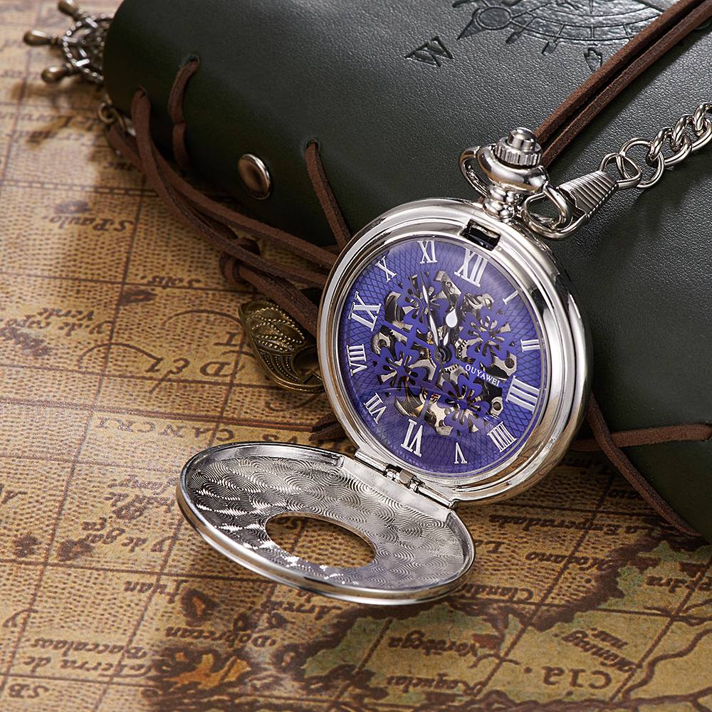 2017 Relogio OYW Luxury Full Steel Case Pocket Watch Men Mechanical Hand Wind Pocket Fob Watch Man Steampunk Watch Orologio Uomo