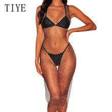 TIYE Crystal Diamond See-through Mesh Sexy Bodycon Dresses Hollow Out Crochet Patchwork Grid Dress Summer Beach Party Vestidos цена