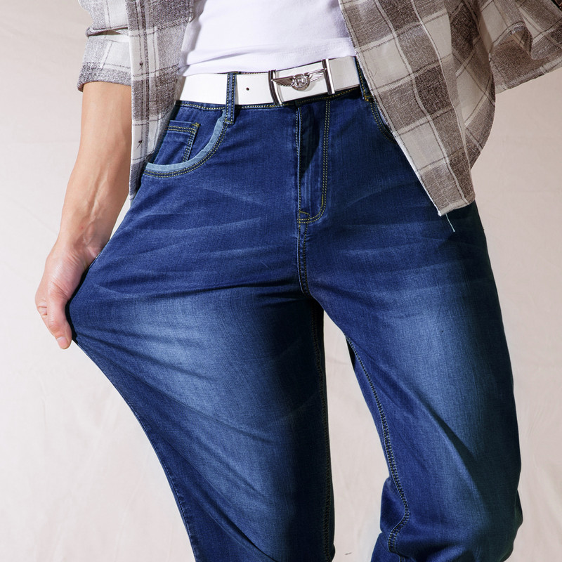 Summer mens new jeans Korean jeans loose straight fat pants pants two optional ultra-thin high-elastic blue casual jeans