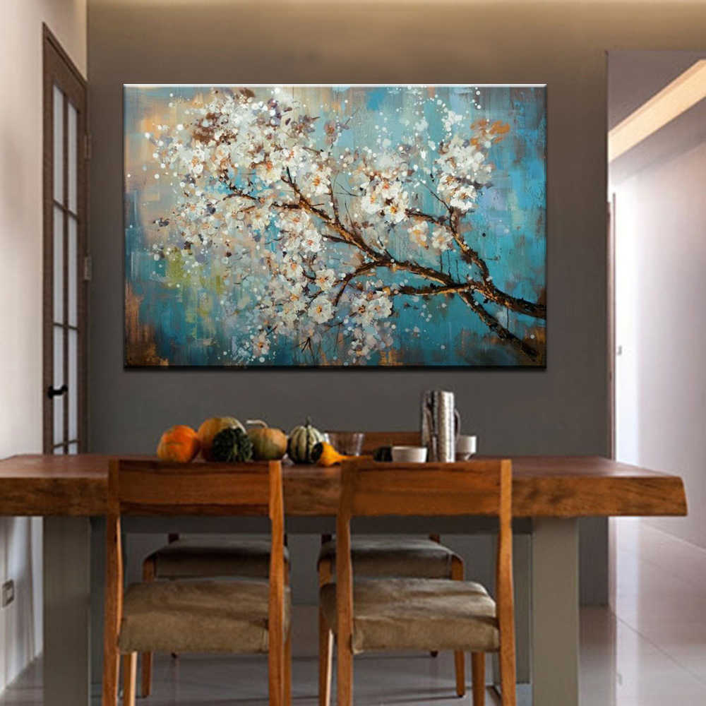 Mintura 100%  Handpainted Flowers and Tree Draw Morden Oil Paintings on Canvas  Wall Pictures For Live Room Home Decor No Framed
