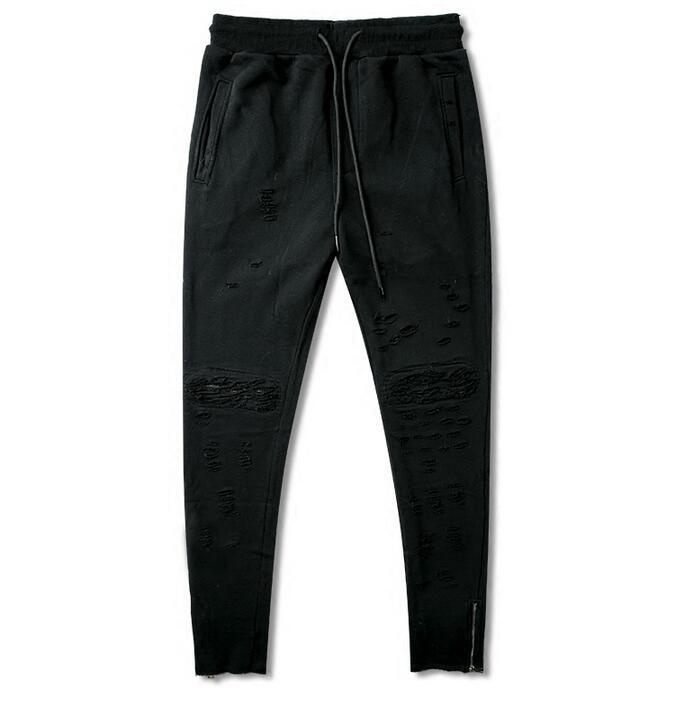 Лето Личность модные рваные штаны-шаровары Мужские Брюки Хомбре Брюки-Карго тонкий Облегающие штаны для мужчин мужские панталоны черный
