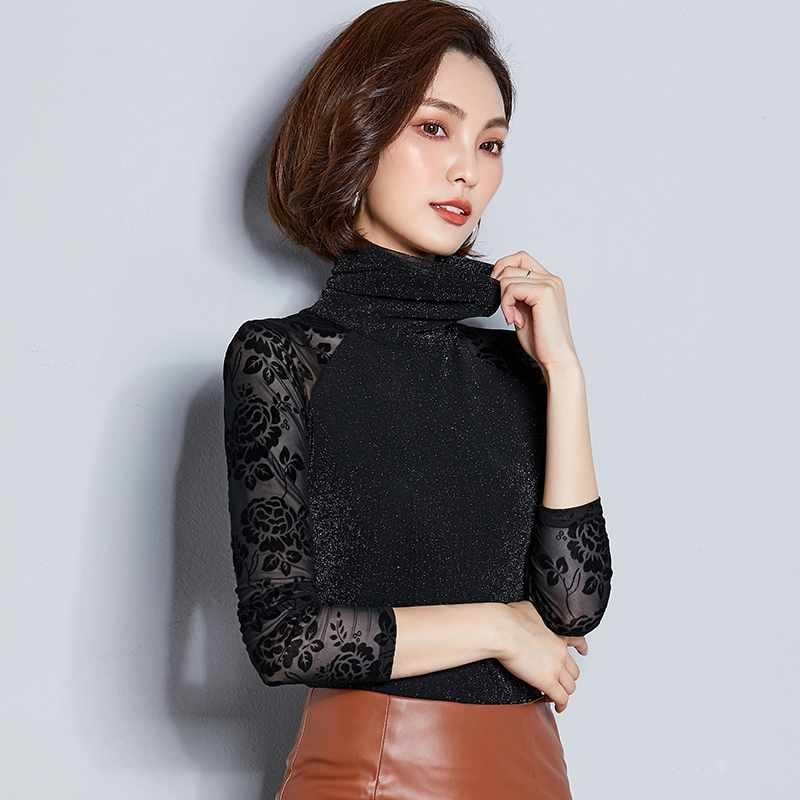 2018 Women Blouse Shirt Gold Wire Mesh Sexy Long Shirt Casual Long Sleeve Lace Blouse Turtleneck Tops For Woman Plus Size in Blouses amp Shirts from Women 39 s Clothing