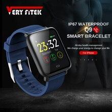 Q9 akıllı saat Kan Basıncı nabız monitörü IP67 Su Geçirmez Spor Fitness Tracker İzle Erkekler Kadınlar Smartwatch Dropship